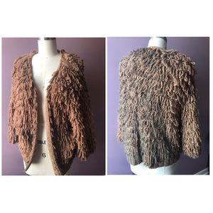 Sweaters - Rare tattered Faux Fur Grunge cardigan Sweater OS